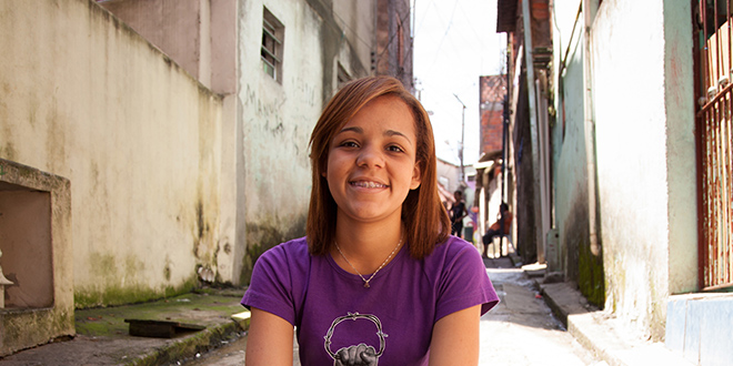 Hope restored: Sao Paulo resident Maristely looks forward to a bright future thanks to Caritas Australia's Project Compassion Appeal.
