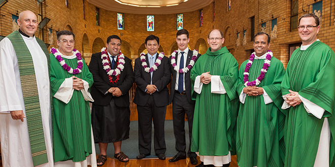 Into the deep: Three young men have taken their first steps to 	becoming priests for Brisbane archdiocese. They were welcomed at the Holy Spirit Provincial Seminary Commencement Mass on February 9. Celebrating the occasion are (from left) Fr Morgan Batt, Carmelite Father Paul Chandler, new seminarians Michael Tanuvasa Kelemete, Jack Ho and Sebastian Condon, Monsignor Tony Randazzo, Fr Josekutty Vadakkel and Deacon Marty Larsen. Photo: Alan Edgecomb