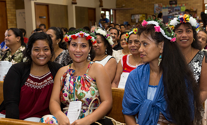 Sharing diversity: A section of the congregation at trhe multicultural Mass at Sunnybank.