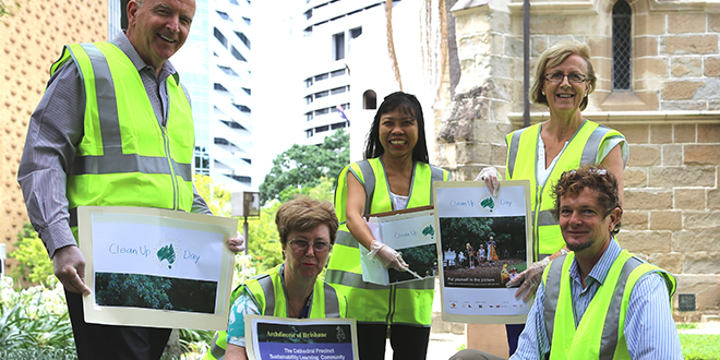 Green future: Members of the Cathedral Precinct Sustainability Learning Community during the recent Clean Up Australia campaign activity are (from left) Chris Ehler, Margaret Naylon, Percy Lawrence, Anna Ehler and Isaac Morton.