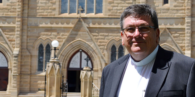 Pastoral presence: Rockhampton's 10th bishop Michael McCarthy outside St Joseph's Cathedral on his first visit to the city since being made bishop-elect. Photo: Marcia Mansfield