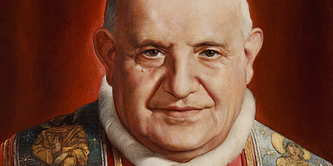 Man of peace: Blessed John XXIII depicted in a painting from a museum in his Italian birthplace. Photo: CNS