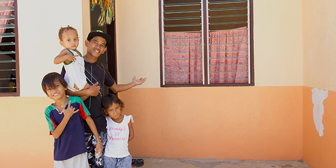 Helping hand: Archie and his family members have been helped by Caritas Australia to move to better accommodation.
