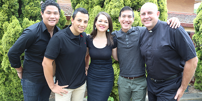 New team: Brisbane archdiocese's Vocations team is (from left) Christian Nobleza, Dony Rodriguez, Veronica Hayes, Adam Burns and Fr Morgan Batt.