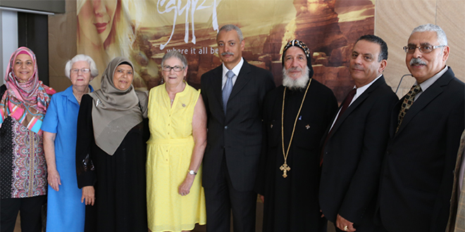 Praying for Egypt:  Among those at the recent World Day of Prayer for Egypt are (from left) Islamic Women's Association of Queensland director Galila Abdelsalam, Heather McIntyre, Fatima Abdel Karim, Sandy O'Donohue, Ayman Aly Kamel, Fr Maroun Moussa, Nazmi Gabriel and Egyptian Association president Albert Nematalla.