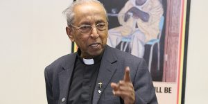 Fr SJ Emmanuel delivers his talk on the situation in Sri Lanka to a gathering at Brisbane archdiocese's Justice Place.