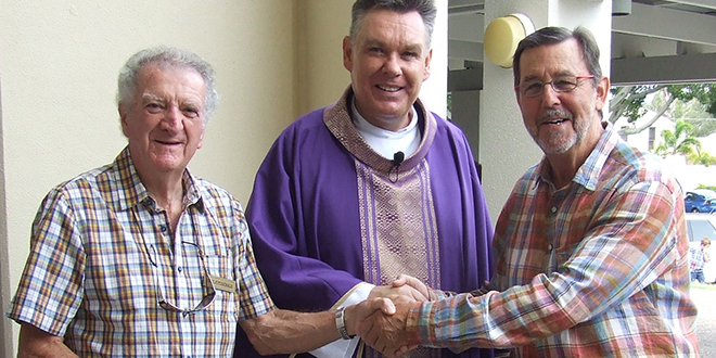 Strong support: Parish pastoral council chair Paul Fitzgerald, Parish priest Fr Tim Harris, former Gold Coast mayor Gary Baildon get ready for the development of a new church at Surfers Paradise.