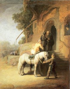 "Image of compassion: ""Charitable Samaritan"" (also known as The Good Samaritan), a painting by Rembrandt."