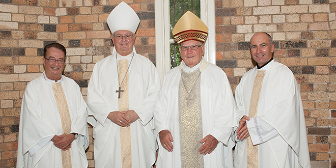 Jubilee days: Monsignor Peter Meneely, Bishop Brian Finnigan, Bishop John Gerry and Fr Peter Brannelly at the Jubilee Mass, at St Brigid's Church, Red Hill, on February 9.