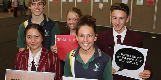 Passionate advocates: students recently took part in an annual Social Justice Day forum. They are (back from left) Brodie Birkett from Xavier College, Hervey Bay, and Jess Potts and Jackson Edwards from Chisholm College, Cornubia and (front) Laetitia Curry from Clairvaux MacKillop College and Ashley Black from Xavier College, Hervey Bay.