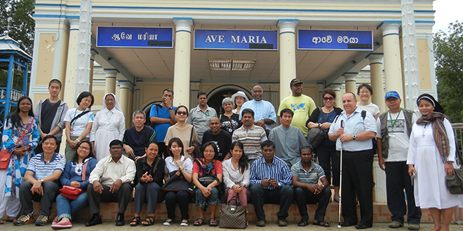 Plea for help: Peter Arndt (front third from right) at last year's networking meeting of the Asia Pacific Forum of Justice and Peace Workers in Kandy, Sri Lanka. Ruki Fernando, under arrest with Fr Praveen Mahesan in Colombo, is in the middle row centre in a black T-shirt.