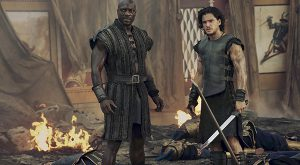 Ancient tale: Adewele Akinnouye-Agbaje and Kit Harington in a scene from the movie Pompeii. Photo: CNS/Sony