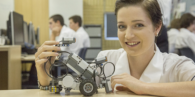 Serious games: Robotics is part of an IT unit offered at St Mary's College, Casino. It is believed to be the only school in the area to offer robotics and gaming. Year 12 student Shania Pontefact displays one of the robots built at the college.