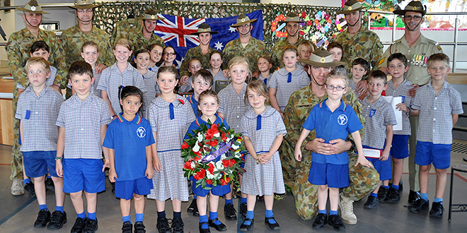 Anzac honoured: Defence students and some of their parents in uniform attended Our Lady of Dolour's School, Mitchelton, Anzac Day liturgy.