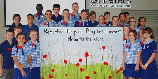 Poppy memorial: St Peter's School, Caboolture, commemorated Anzac Day with a particular focus on the origin of the 'red field poppy'