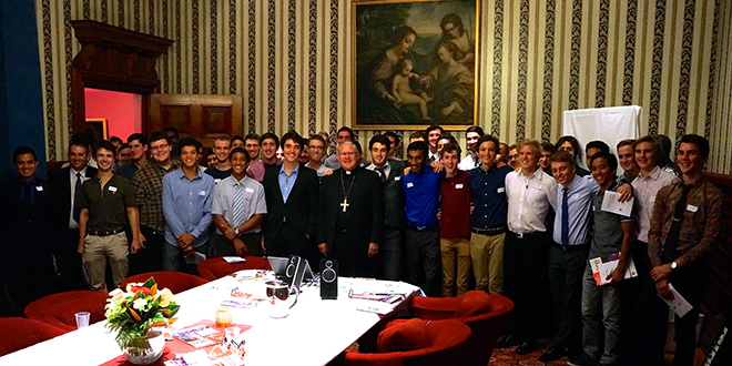 Men of faith: Brisbane Archbishop Mark Coleridge with the young men attending the 17th annual vocations dinner on April 3.