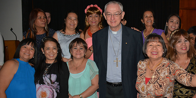 Farewell: Bishop Michael Putney with parishioners from Mt Isa parish during a recent visit.