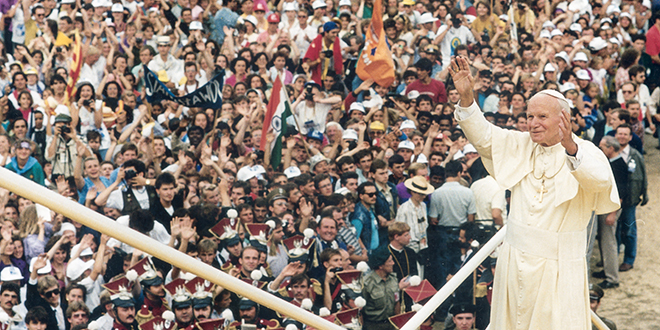 Faith leader: Pope John Paul II greets the World Youth Day crowd in Czestochowa, Poland, in 1992. Photo: CNS