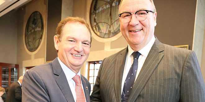 Generous donation: Ipswich Mayor Paul Pisasale with Order of Malta's vice president Justice Martin Daubney at the breakfast.