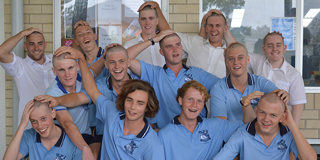Worthy cause: Kempsey's St Paul's College students who took part in the World's Greatest Shave, front from left Kiernan Moore, Jordan Ryan, Daniel Baker, James Barron, middle, from left, Caleb Alsford, Ryan Morrison, Daniel Morrison, Josh Needs,  back, from left, Nick Irvine, Daniel Saul, Josh Walker, James Conomos, Luke Creighton. Photo:  Year 10 student Emma Leah Ducat