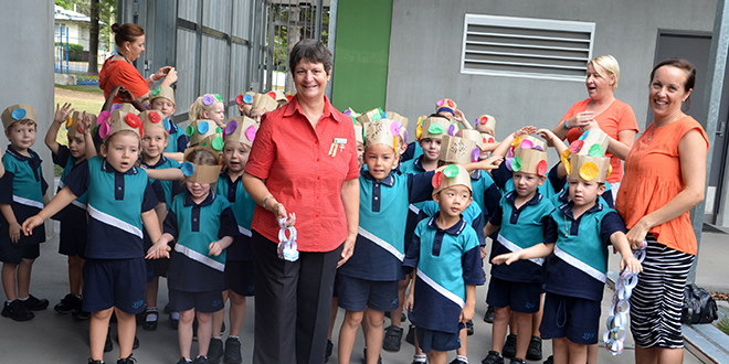 Timely feast: Sr Jenny Scari among students and staff at St Joseph's Tobruk Memorial Primary School at the thanksgiving Mass on the Feast of St Joseph to celebrate her 40th anniversary as a Josephite.