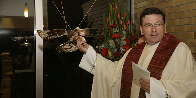 Building on faith: Fr Michael McCarthy at the opening and blessing of the new chapel at Holy Spirit Seminary in 2008.