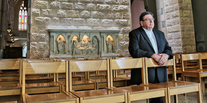 Preparing with prayer: Bishop-elect Michael McCarthy is set to be ordained on Thursday.