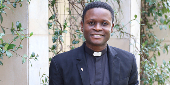 Priestly conviction: Deacon Uzuegbu will be ordained a priest for the Archdiocese of Brisbane on June 27 at St Stephen's Cathedral.