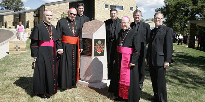 New beginning: Apostolic nuncio Archbishop Giuseppe Lazzarotto, Cardinal William Levada, Fr Gerry Kalinowski, Fr Michael McCarthy, Archbishop John Bathersby, Fr David Pascoe and Fr Ken Howell at the opening of Holy Spirit Seminary in 2008.