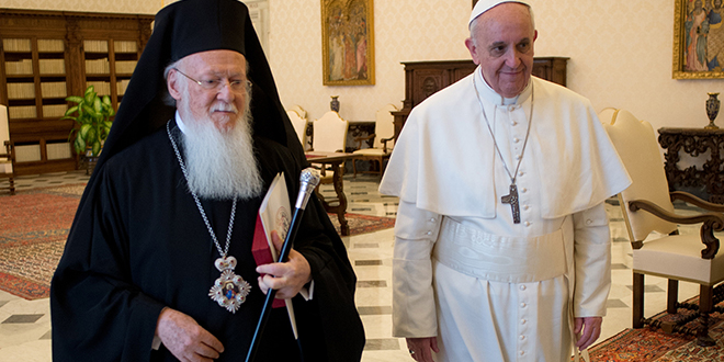 Historic event: Pope Francis walks with Ecumenical Patriarch Bartholomew of Constantinople. Photo: CNS/L'Osservatore Romano.