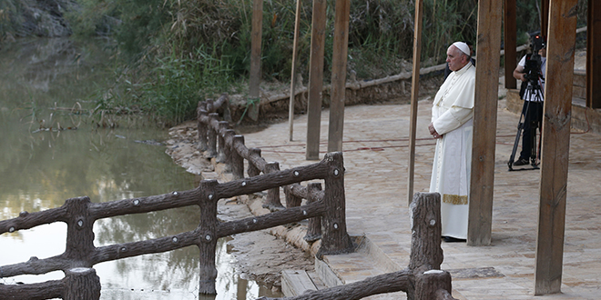 Urging peace: Pope Francis visits Bethany Beyond the Jordan, the traditional site of Jesus' baptism, southwest of Amman, Jordan, on May 24. Photo: CNS/Paul Haring