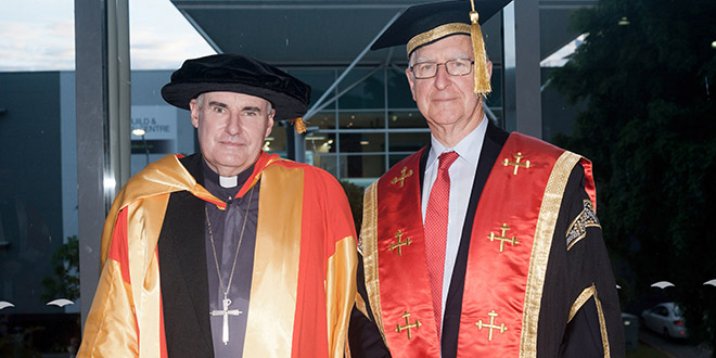 ACU honour: Bishop James Foley and ACU Pro-Chancellor Ted Exell. Bishop Foley has been awarded an honorary doctorate by Australian Catholic University.