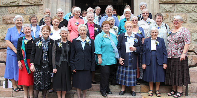 Giving thanks: Sisters of Charity outside St Stephen's Cathedral, Brisbane, after a Mass of thanksgiving for the order's 175 years of service in Australia.
