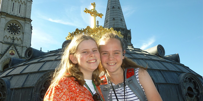 Amelia Brennan with sister Catherine during her trip to Lourdes last October that resulted in a miraculous healing.