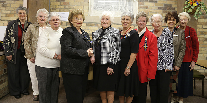Leading ladies: Catholic Women's League members celebrating more than 30 years includeing, from left,  Carmel Donaghy, Angela Sannen, Leila Ryan, Margaret Begg, Clare Patch, Ronadha Gorring, Shona Cogham, Joan Leschke, Judy Craven, and Clair Conway. Photo: Emilie Ng
