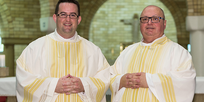 Blessed day: Andrew Hogan and Stephen Camiolo after their ordination to the diaconate at Holy Spirit Chapel, Banyo, on June 19.