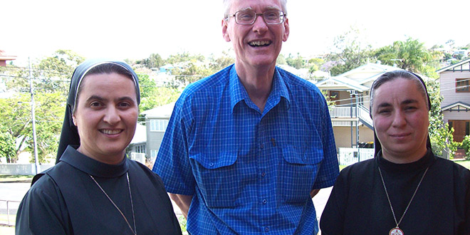 Fearful future: Daughters of Jesus' Sacred Heart Sisters Azhar Koka and Samar Mikha with Fr Gerry Hefferan in Brisbane shortly before the sisters' departure for Erbil in November 2012.