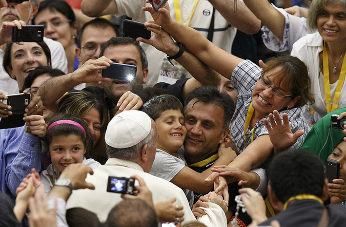 Pope Francis with people
