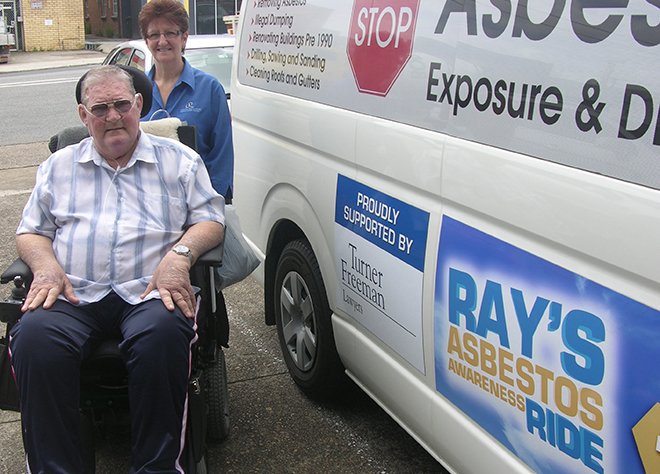 Inspirational leader: Ray Colbert in the motorised wheelchair which he used in Ray's Asbestos Awareness Ride between Toowoomba and Brisbane. His wife Helen is with him.