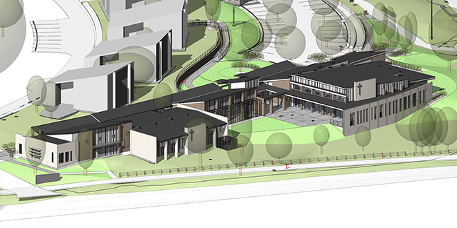 """Seminary's heart: This architect's drawing shows how Banyo's Holy Spirit Provincial Seminary will look after the addition of a $5.5 million multipurpose building. The new building, including additional teaching/formation space and expanded administration facilities, will join the two existing buildings to create a recognisable """"heart"""" for the seminary."""