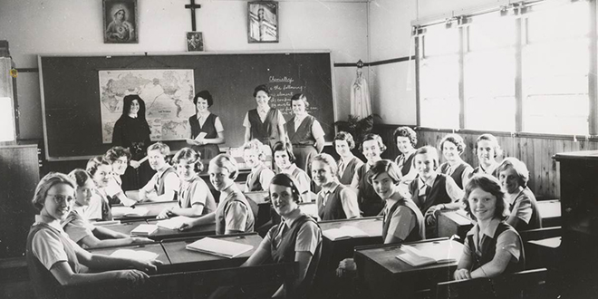 Early days: Students from Mount St Joseph College, now named Mary MacKillop College, during the formative years in the 1960s.