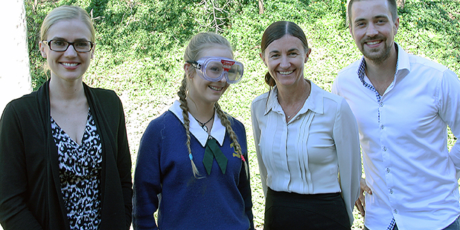 "Game on: Know Alcohol facilitators and Social Marketing @ Griffith researchers Dr Lisa Schuster, Professor Sharyn Rundle-Thiele and PhD student Timo Dietrich with St Peter Claver College, Riverview student April Hedger who is trying on ""Beer Goggles""."