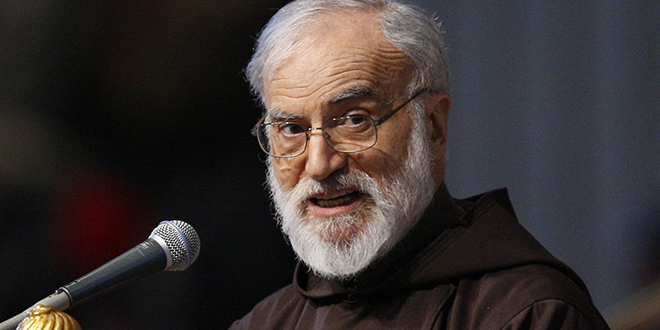 Delivering message: Papal preacher Capuchin Father Raniero Cantalamessa says Jesus would have been a perfect TV evangelist. Photo: CNS/Paul Haring