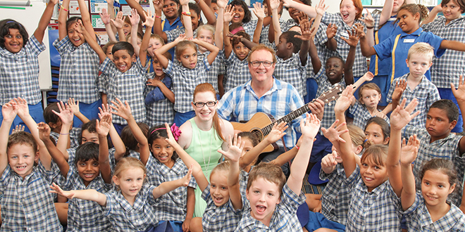 Engaging methods: Michael Mangan and Annabelle Pike, this year's Catholic Education Week ambassadors, sharing the joy of music with students.