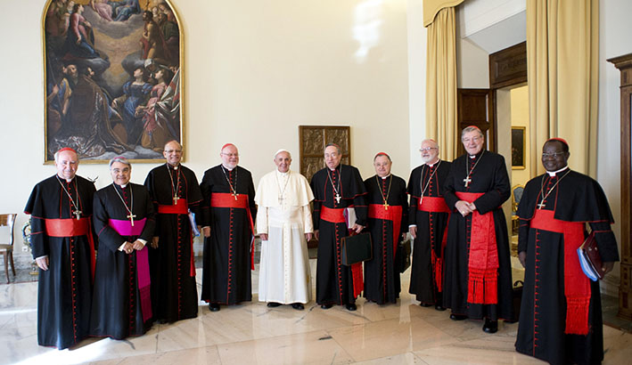 Pope Francis and cardinals
