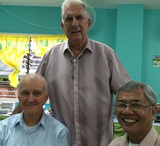 New chapter: At the opening of the new Edmund Rice Centre in the Philippines are (from left) Br Rod Ellyard, Fr Brian Gore and Bishop Patricio Buzon.