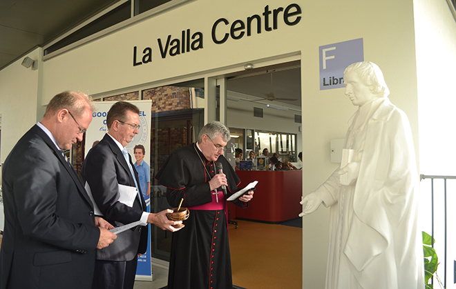 Blessing: Bishop James Foley blesses the La Valla Centre and the statue of St Marcellin Champagnat.
