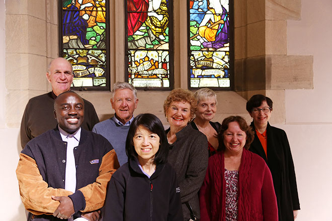Living stones: St Stephen's Cathedral's latest intake of guides and welcomers after their Commissioning Mass. They are (back from left) Greg Jones, Pat Maguire, Rosemary Fraser, Cheryl Morton and Gosia Hawker; and (front) Alexis Bukuru, Rita Wong and Christine Lindsay. Not present were Mary Gault and Cristina Yudi. Photo: Paul Dobbyn