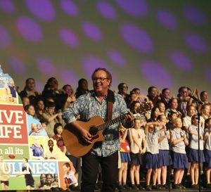 Michael Magan performs at the official launch of Catholic Education Week 2014.