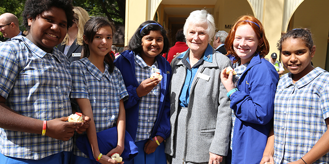 Namesake: Josephite Sister Anne Cannon (centre) with students from St Mary of the Cross Catholic Primary School, Windsor, Katrina Fusi, Cristal Vidal, Alrin George, Eliza Harvey and Patrease Freeman.